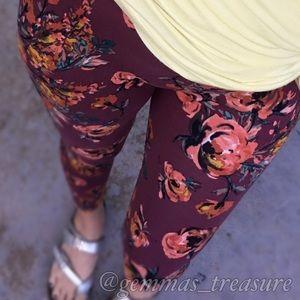 Wine Floral Leggings
